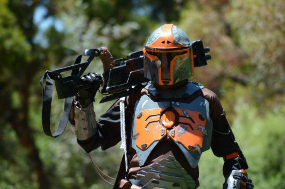 ntony Newland in his custom Mandalorian armour, photo by Michael Zubrinich